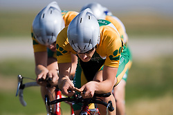 The Lees-McRae College team of Mike Anderson, Sean Condron, John Doyle, Sam Keesler, Andrew Talansky, and Eric Thompson competes in the men's division 1 race.  The 2008 USA Cycling Collegiate National Championships Team Time Trial event was held near Wellington, CO on May 9, 2008.  Teams of 3 or 4 riders raced over a 20km out and back course that ran along a service road to Interstate 25.