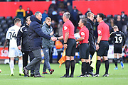 Reading manager Paul Clement shakes hands with the match officials at full time after hia team were beaten by Swansea 2-0 during the EFL Sky Bet Championship match between Swansea City and Reading at the Liberty Stadium, Swansea, Wales on 27 October 2018.