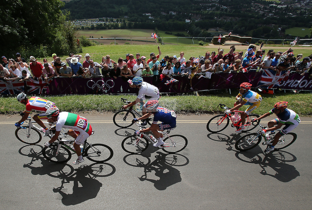 Racers climb up Box Hill in the town of Dorney duirng the Olympic Cycling men's road race during day 1 of the Olympic Games London, 28 Jul 2012..(Jed Jacobsohn/for The New York Times)....