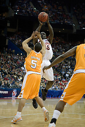Virginia Cavaliers guard/forward Solomon Tat (45) shoots over Tennessee Volunteers guard Chris Lofton (5).  The #4 seed Virginia Cavaliers were defeated by the #5 seed Tennessee Volunteers 77-74 in the second round of the Men's NCAA Tournament in Columbus, OH on March 18, 2007.