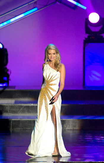 Miss Clinton Audrienna Gillis shows off her evening gown during the second night of preliminary competition at the Miss Mississippi Pageant held at the Vicksburg Convention Center on May 30, 2011. (Bryant Hawkins/The Vicksburg Post)