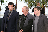 Actor Benicio Del Toro, Director Arnaud Desplechin and actor Mathieu Amalric at the Jimmy P. Psychotherapy of a Plains Indian film photocall at the Cannes Film Festival 18th May 2013