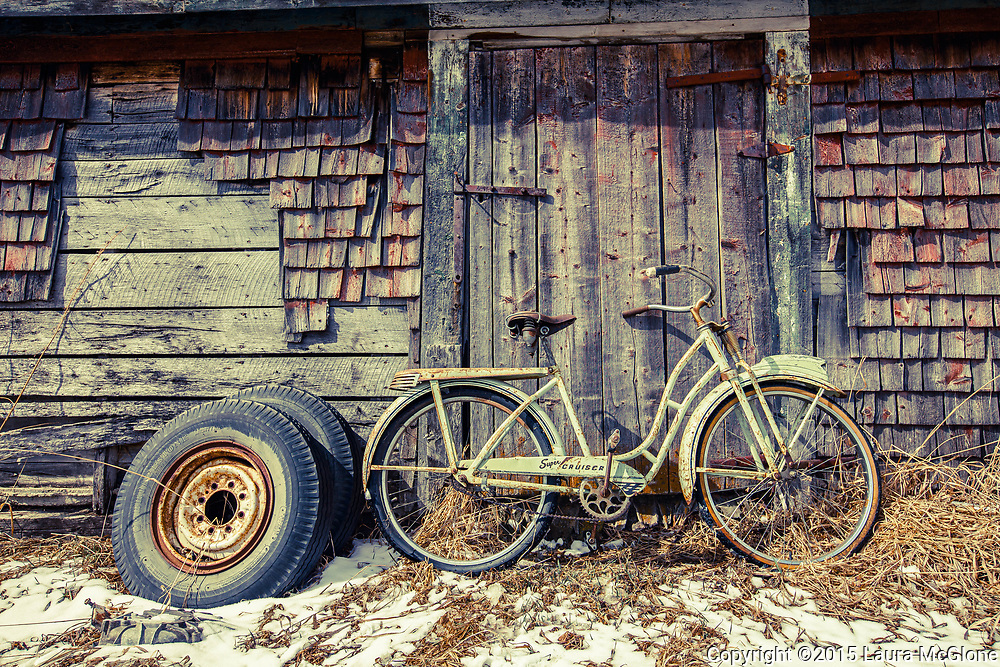 Bicycle Rustic by side of Barn, Alberta Canada