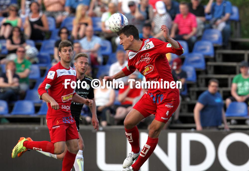 23.5.2014, Keskuskentt&auml;, Sein&auml;joki.<br /> Veikkausliiga 2014.<br /> Sein&auml;joen Jalkapallokerho - FF Jaro.<br /> Mathias Kullstr&ouml;m - Jaro