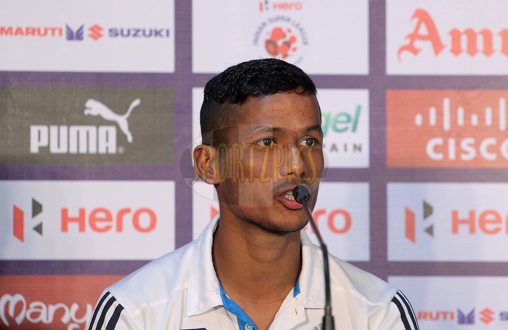 Narayan Das of FC Goa during the press conference of match 50 of the Hero Indian Super League between Chennaiyin FC and FC Goa held at the Jawaharlal Nehru Stadium, Chennai, India on the 5th December 2014.<br /> <br /> Photo by:  Vipin Pawar/ ISL/ SPORTZPICS