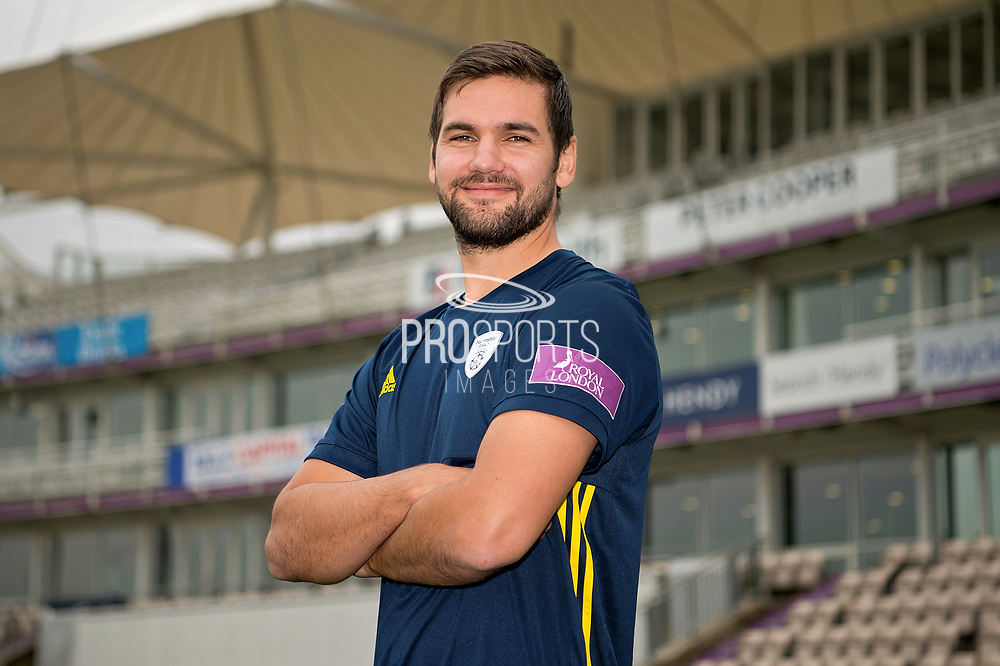 Portrait of Rilee Rossouw in front of the pavilion during the Hampshire County Cricket Club Media Day at the Ageas Bowl, Southampton, United Kingdom on 10 April 2018. Picture by Dave Vokes.