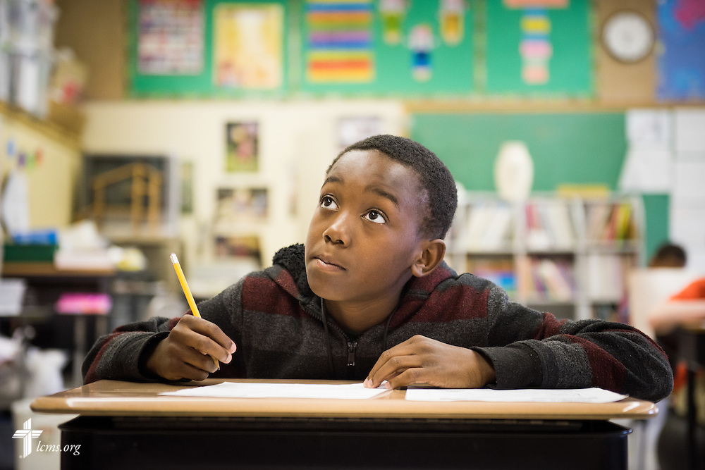 Student Dominique Brown listens during class at Lutheran Special School & Education Services, located in Milwaukee Lutheran High School, on Tuesday, May 19, 2015, in Milwaukee, Wis. LCMS Communications/Erik M. Lunsford