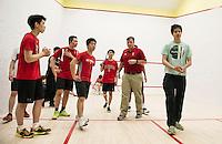St Paul's School varsity boys Squash with Nobles.  ©2017 Karen Bobotas Photographer