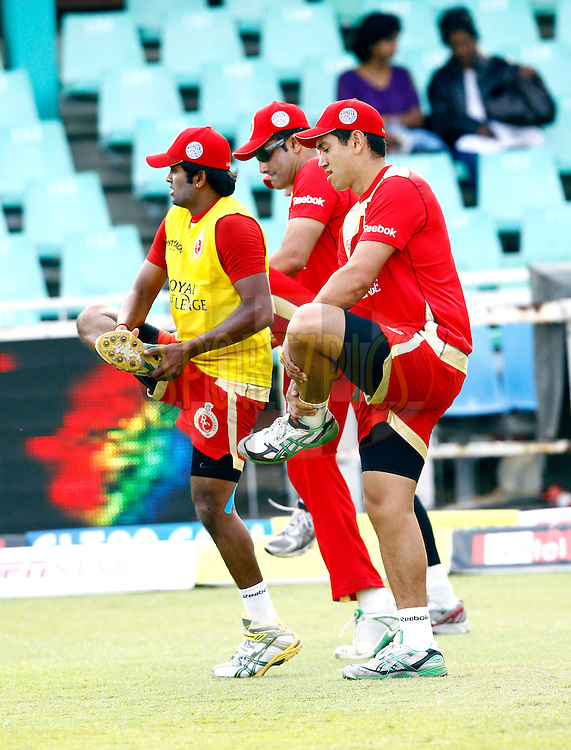 RCB doing stretches during warm-up before match 21 the First Semi Final of the Airtel CLT20 between The Chennai Superkings and The Royal Challengers Bangalore held at Kingsmead Stadium in Durban on the 24 September 2010..Photo by: Gerhard Duraan/SPORTZPICS/CLT20.