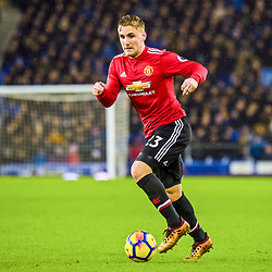 Luke Shaw of Manchester United on the ball during the Premier League match between Everton and Manchester United, Goodison Park, Monday 1st January 2018<br /> (c) John Baguley | SportPix.org.uk