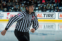 KELOWNA, CANADA - APRIL 7: Linesman Nathan Van Oosten skates on the ice at the Kelowna Rockets on April 7, 2017 at Prospera Place in Kelowna, British Columbia, Canada.  (Photo by Marissa Baecker/Shoot the Breeze)  *** Local Caption ***