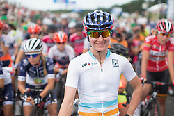 Megan Guarnier (USA) of Boels-Dolmans Cycling Team wears the UCI Women's World Tour overall leader's jersey before the 121.5 km road race of the UCI Women's World Tour's 2016 Grand Prix Plouay women's road cycling race on August 27, 2016 in Plouay, France. (Photo by Balint Hamvas/Velofocus)