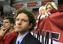 Marcel Rodman and Gaber Glavic  at ice-hockey match Canada vs Latvia (with replika jerseys from year 1936) at Preliminary Round (group B) of IIHF WC 2008 in Halifax, on May 04, 2008 in Metro Center, Halifax, Nova Scotia, Canada. (Photo by Vid Ponikvar / Sportal Images)