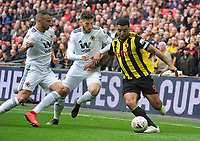 Football - 2018 / 2019 Emirates FA Cup - Semi-Final: Wolverhampton Wanderers vs. Watford<br /> <br /> Troy Deeney of Watford is challenged by Matt Doherty and Romain Saiss, at Wembley Stadium.<br /> <br /> COLORSPORT/ANDREW COWIE