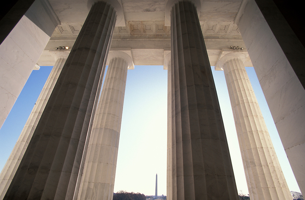 view from Lincoln Memorial with Washington Memorial, The Mall, Washington D.C. , USA