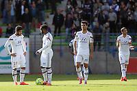 Nabil FEKIR / Alexandre LACAZETTE / Clement GRENIER - 09.05.2015 -  Caen / Lyon  - 36eme journee de Ligue 1<br />Photo : Vincent Michel / Icon Sport