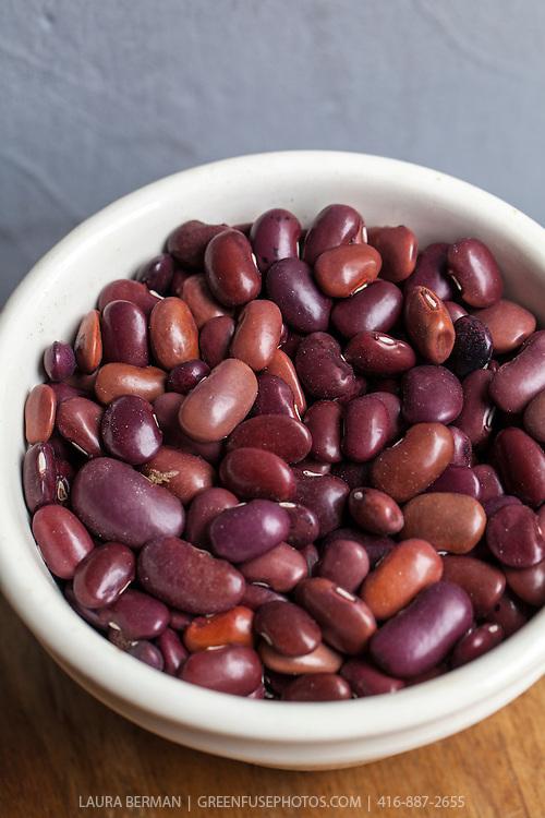 Dried heirloom 'Ayocote Morado' beans