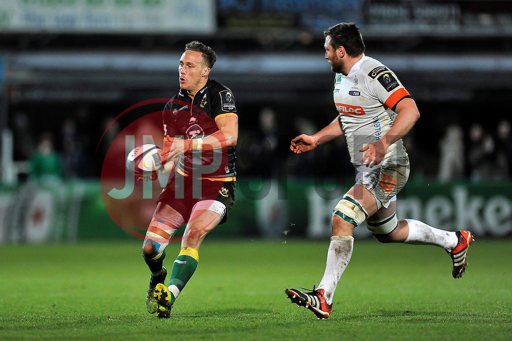 James Wilson of Northampton Saints passes the ball - Photo mandatory by-line: Patrick Khachfe/JMP - Mobile: 07966 386802 13/12/2014 - SPORT - RUGBY UNION - Northampton - Franklin's Gardens - Northampton Saints v Treviso - European Rugby Champions Cup