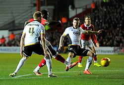 Bristol City's Jay Emmanuel-Thomas scores  - Photo mandatory by-line: Joe Meredith/JMP - Mobile: 07966 386802 - 10/02/2015 - SPORT - Football - Bristol - Ashton Gate - Bristol City v Port Vale - Sky Bet League One