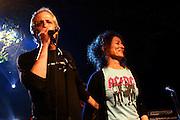 Israeli singers Gidi Gov and Nurit Galron are performing in Tel Aviv. April, 23 , 2007.