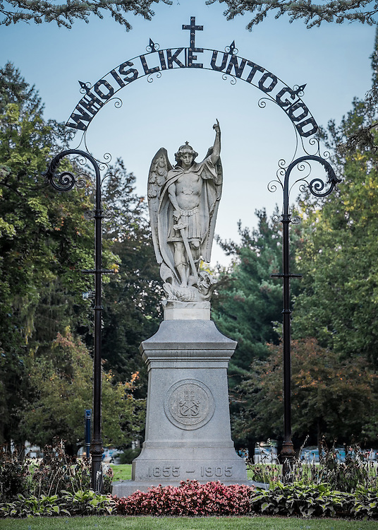 Saint Mary's College, St. Michael Statue. (Photo by Matt Cashore)