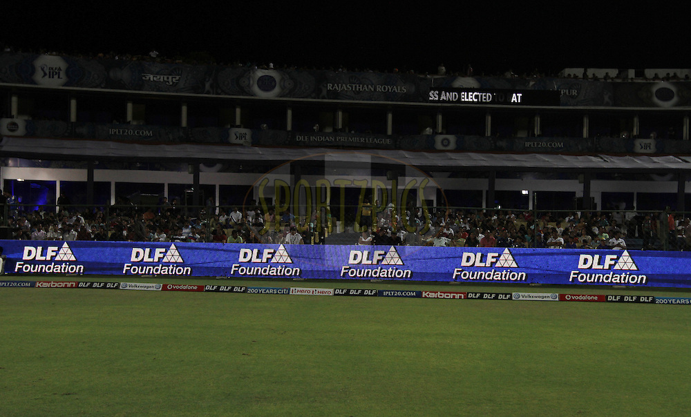 The branding during match 72 of the Indian Premier League ( IPL) 2012  between The Rajasthan Royals and the Mumbai Indians  held at the Sawai Mansingh Stadium in Jaipur on the 20th May2012..Photo by Vipin Pawar/IPL/SPORTZPICS