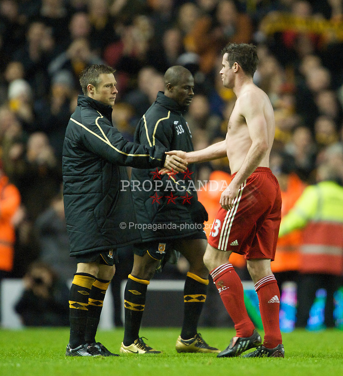 LIVERPOOL, ENGLAND - Saturday, December 13, 2008: Liverpool's Jamie Carragher and Hull City's Nicky Barmby after the Premiership match at Anfield. (Photo by David Rawcliffe/Propaganda)