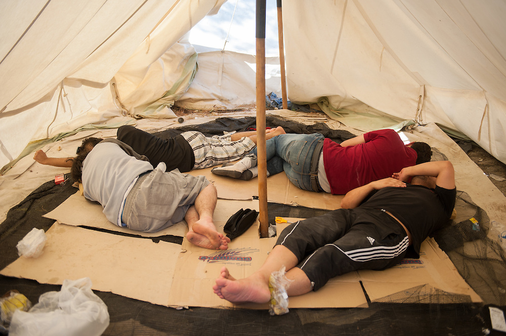 Mohammed, Tarik, Ahmed and Abbas from Latakiyah, Syria on their first day in Moria camp.