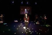 Een van de deelnemende dichters bij de poetryslam. In de Stadsschouwburg van Utrecht vindt de dertigste nacht van de po&euml;zie plaats. Tijdens het evenement zijn er voordrachten van bekende en minder bekende dichters en is er een poetryslam. Daarnaast zijn er allerlei andere activiteiten.<br /> <br /> A poet is doing a poetry slam. For the 30th time the Night of the Poetry is held in the Stadschouwburg in Utrecht. Writers are reading their poems, a poetry slem is organized and visitors can have a poem written especially for themselves.