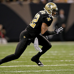 2009 November 02: New Orleans Saints safety Darren Sharper (42) in pass coverage in the second half against the Atlanta Falcons during a 35-27 win by the Saints over the Falcons at the Louisiana Superdome in New Orleans, Louisiana.