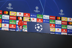 October 1, 2018 - Turin, Piedmont, Italy - A particular of Allianz Stadium press room before the Juventus FC press conference on the eve of the UEFA Champions League match between Juventus FC and Berner Sport Club Young Boys at Allianz Stadium on October 01, 2018 in Turin, Italy. (Credit Image: © Massimiliano Ferraro/NurPhoto/ZUMA Press)