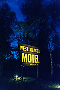 West Glacier Motel sign at night