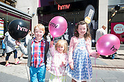 Rowan, Zoe and Leah Murphy from Dromat the opening of HMV Galwayat Edward square. Photo:Andrew Downes