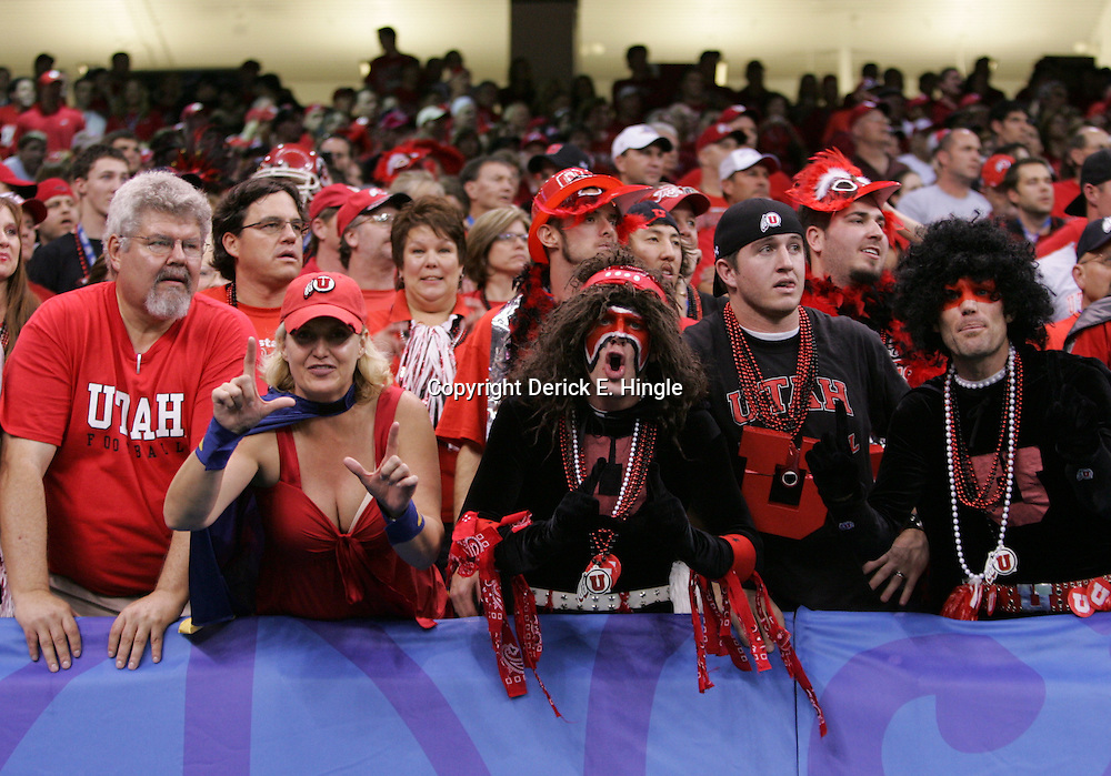 2 January 2009: Utah fans cheer from the stands during a 31-17 win by the Utah Utes over the Alabama Crimson Tide in the 75th annual Allstate Sugar Bowl at the Louisiana Superdome in New Orleans, LA.