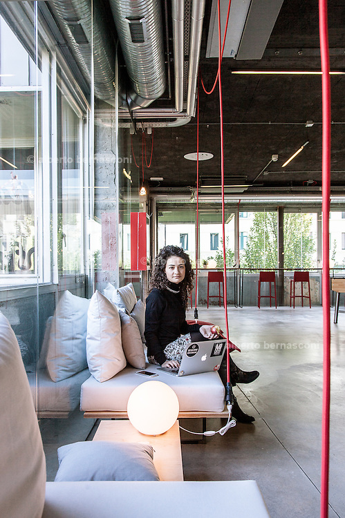 Milan, Talent Garden coworking company. coffee area, Rosalba Pinto, Account Executive, Adtz