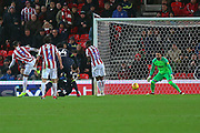 Stoke City midfielder Thomas Ince (7) scores a goal 2-1 during the EFL Sky Bet Championship match between Stoke City and Derby County at the Bet365 Stadium, Stoke-on-Trent, England on 28 November 2018.