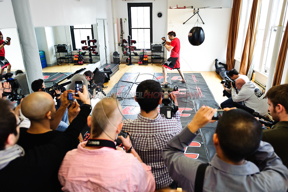"NEW YORK, NEW YORK, MARCH 25, 2010: Dan Hardy (center top) shadow boxes at the  media open work-out sessions for ""UFC 111: St. Pierre vs. Hardy"" at Peak Performance Strength and Conditioning Center in Manhattan on March 25, 2010."