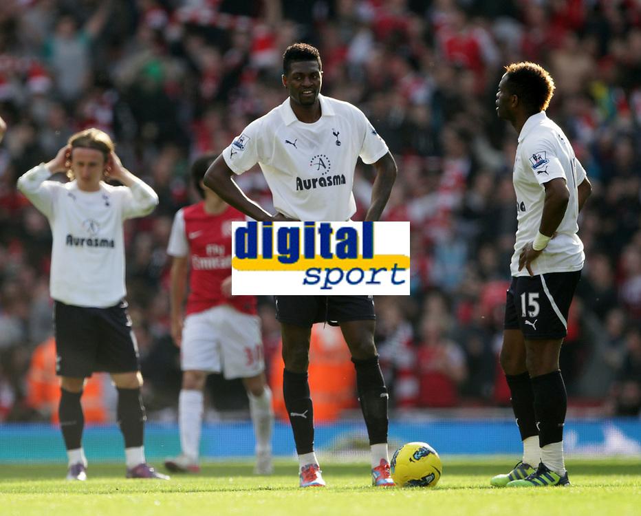 20120226: LONDON, UK - Barclays Premier League 2011/2012: Arsenal vs Tottenham.<br /> In photo: Tottenhams Emmanuel Adebayor looks on dejected after going 3-2 down.<br /> PHOTO: CITYFILES