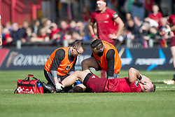 September 30, 2017 - Limerick, Ireland - Injured Jaco Taute of Munster lies on the pitch after a foul during the Guinness PRO14 Conference A Round 5 match between Munster Rugby and Cardiff Blues at Thomond Park in Limerick, Ireland on September 30, 2017  (Credit Image: © Andrew Surma/NurPhoto via ZUMA Press)