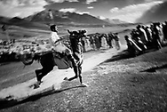 A runaway horse heads directly into the crowd and makes people flee. The polo tournament is a very big event and the pass which normally only inhabits a police checkpost and some sheepherders is for a few days transformed to a swarm of people, tents and horses.
