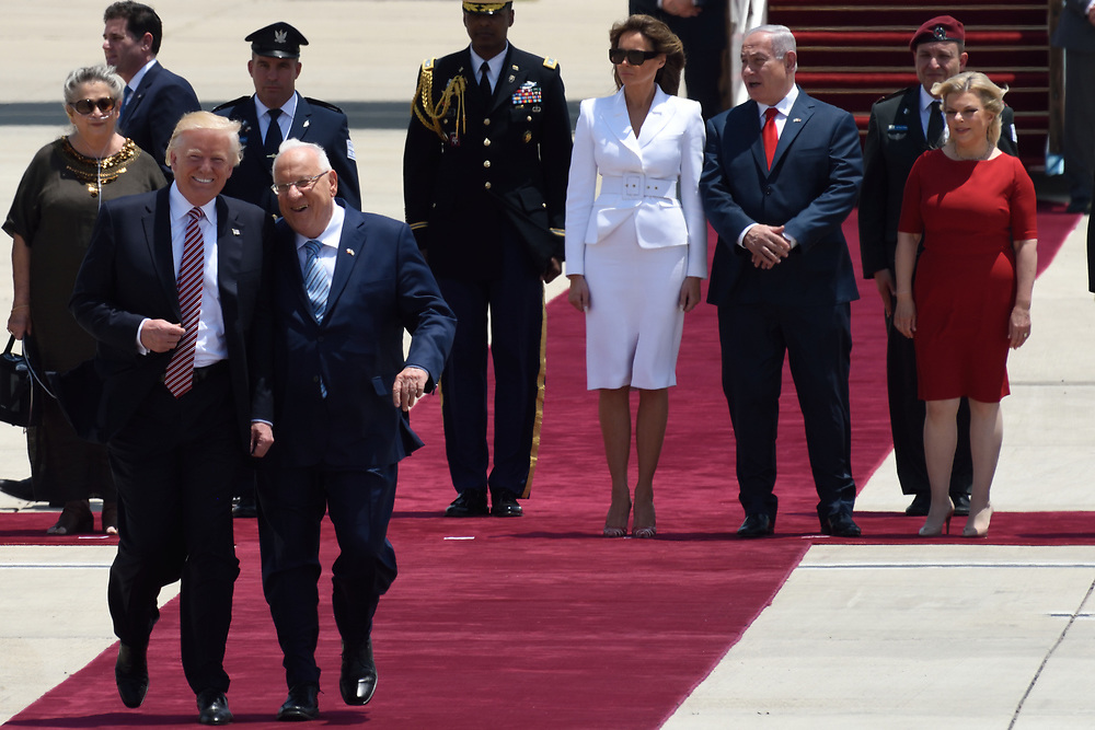 US President Donald Trump with Israeli President Ruvi Rivlin  during an official welcoming ceremony on his arrival at Ben Gurion International Airport on May, 22 2017 near Tel Aviv, Israel. President Trump arrived to Israel to a two day visit, as part of his first trip abroad since being elected. Photo by Gili Yaari