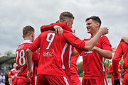 Wrexham AFC Players Celebrate after Wrexham AFC Forward, Jordan White (9) scores to make it 0-1 during the Vanarama National League match between Eastleigh and Wrexham FC at Arena Stadium, Eastleigh, United Kingdom on 29 April 2017. Photo by Adam Rivers.