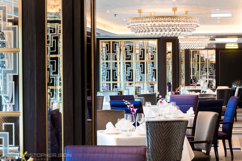 The Britannia Club restaurant on board Cunard's Queen Victoria.<br /> Picture date: Monday June 5, 2017.<br /> Photograph by Christopher Ison &copy;<br /> 07544044177<br /> chris@christopherison.com<br /> www.christopherison.com