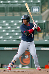 July 17, 2018 - Sarasota, FL, U.S. - Sarasota, FL - JUL 17: Kinady Salva (1) of the Twins at bat during the Gulf Coast League (GCL) game between the GCL Twins and the GCL Orioles on July 17, 2018, at Ed Smith Stadium in Sarasota, FL. (Photo by Cliff Welch/Icon Sportswire) (Credit Image: © Cliff Welch/Icon SMI via ZUMA Press)