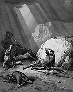 Conversion of St Paul on the road to Damascus. Acts 9. From Gustave Dore 'Bible' 1865-1866. Wood engraving. Power of God is depicted as a shaft of light.