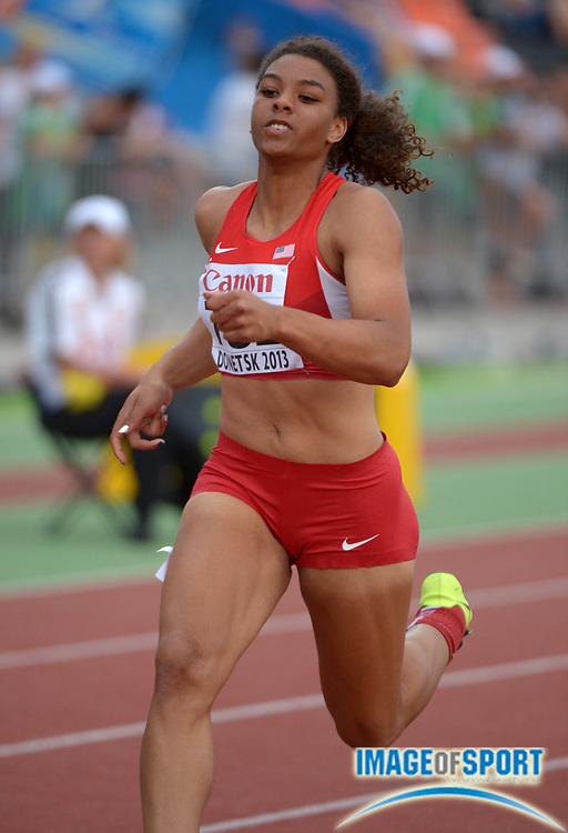 Jul 11, 2013; Donetsk, UKRAINE; Ky Westbrook (USA) wins the womens 100m in 11.33 in the 2013 IAAF World Youth Championships at Olimpiyskiy Stadium.