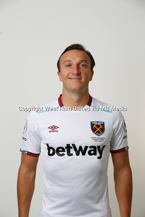 LONDON, ENGLAND - AUGUST 06:  Mark Noble of West Ham poses during a Premier League portrait session on August 6, 2016 in London, England. (Photo by Tom Shaw/Getty Images)
