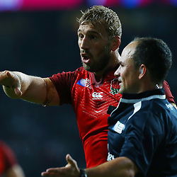 LONDON, ENGLAND - SEPTEMBER 18: Chris Robshaw of England with Jaco Peyper (SARU) (Referee) during the Rugby World Cup 2015 Pool A match between England and Fiji at Twickenham Stadium on September 18, 2015 in London, England.  (Photo by Steve Haag Emirates)