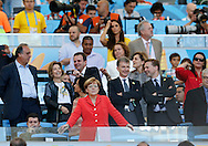 Chancellor of Germany, Angela Merkel during the 2014 FIFA World Cup Final match at Maracana Stadium, Rio de Janeiro<br /> Picture by Andrew Tobin/Focus Images Ltd +44 7710 761829<br /> 13/07/2014