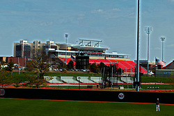 26 April 2014:   Renovated Hancock Stadium from Duffy Bass Field during an NCAA Division 1 Missouri Valley Conference (MVC) Baseball game between the Southern Illinois Salukis and the Illinois State Redbirds in Duffy Bass Field, Normal IL
